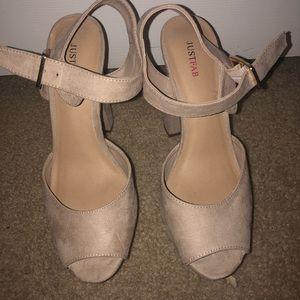 Just Fab suede open toe heels